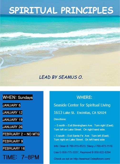 Seamus Spiritual Principles flyer - 2014 Encinitas